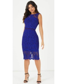 LIPSY VIP Spitzenkleid Blau Lace Embroided