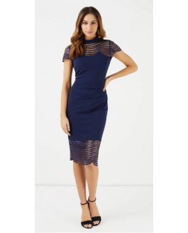 LIPSY VIP Paillettenkleid Blau Lace Embroided