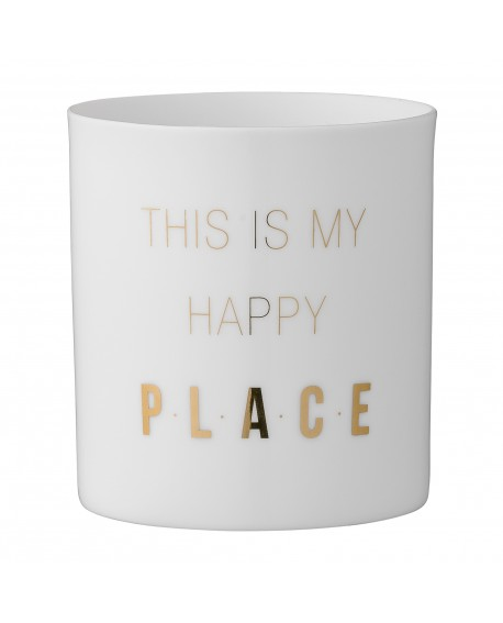 """bloomingville Teelichthalter weiß/gold """"this is my happy place"""""""