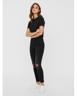 NOISY MAY LUCY CROPPED NORMAL WAIST SKINNY FIT JEANS SCHWARZ