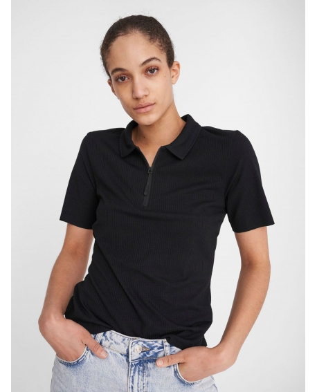 Noisy May ZIPPER DETAIL POLO SHIRT